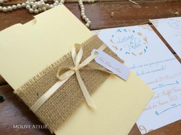 Convite Rústico Com Juta 01 De Casar No Papel