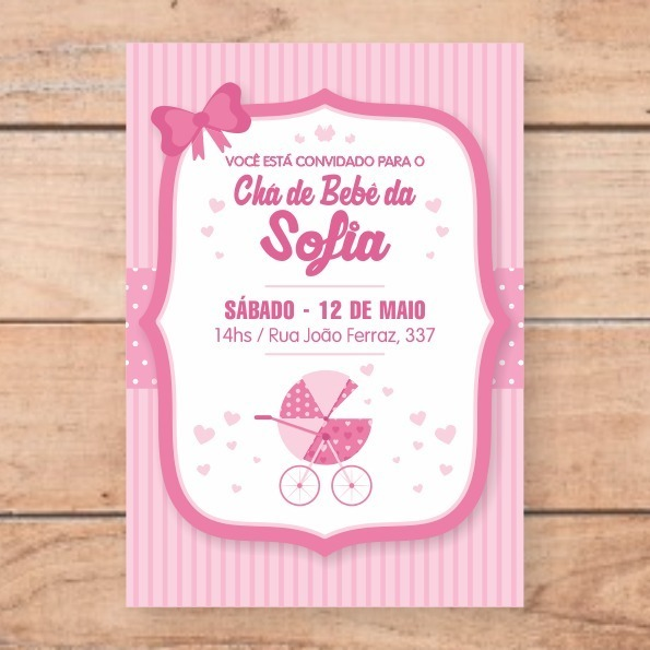 Convite Chá D Bebe Menina Rosa Enviar No Whatsapp E Imprimir