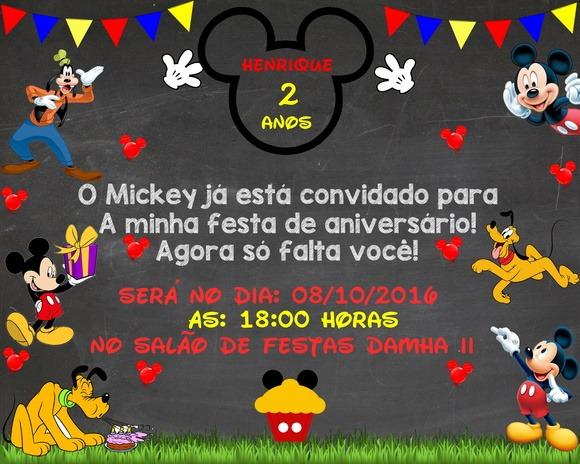 Convite Chalkboard Mickey