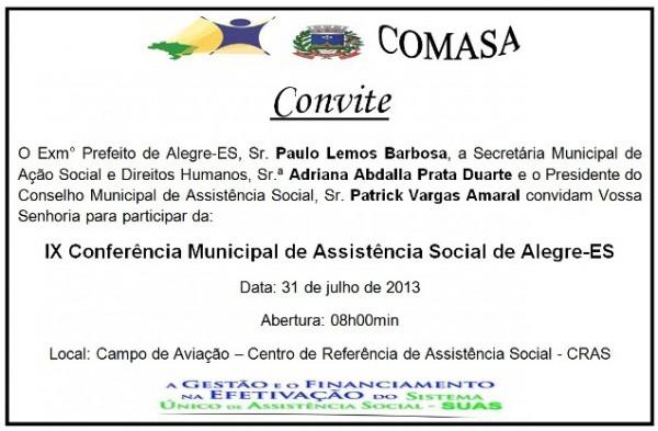 Convite  Ix Comasa