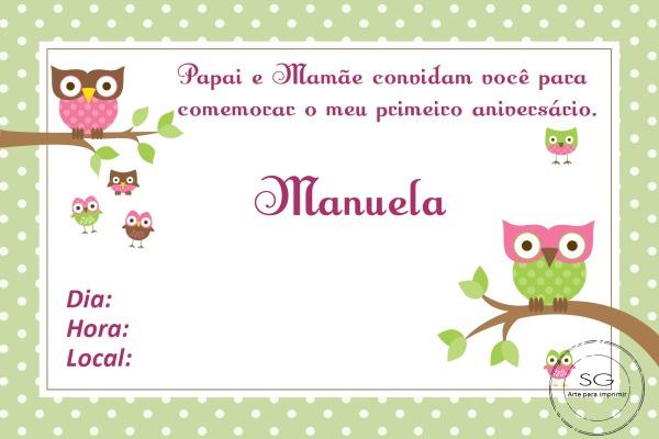Convite Corujinha 3 No Elo7