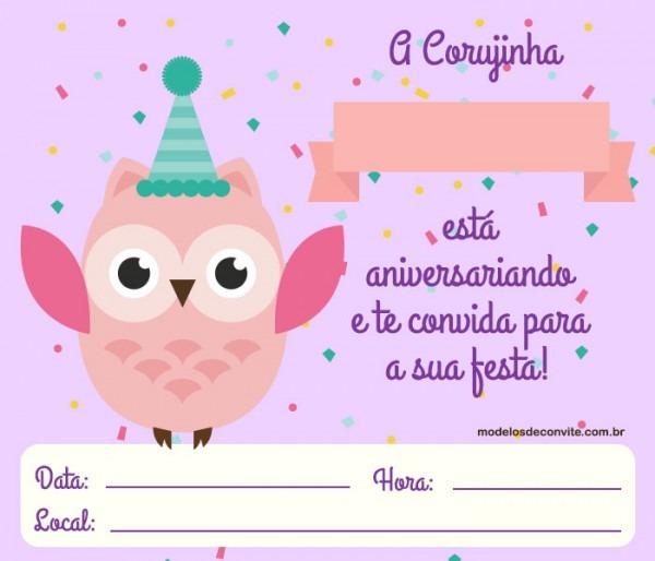 Convite Corujinha +10 Modelos Diferenciados! – Modelos De Convite