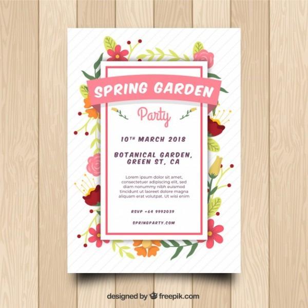 Convite Da Festa Do Jardim Da Primavera Em Estilo Plano
