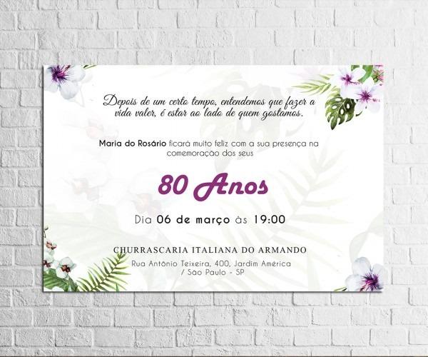 Convite De Aniversario 80 Anos Feminino