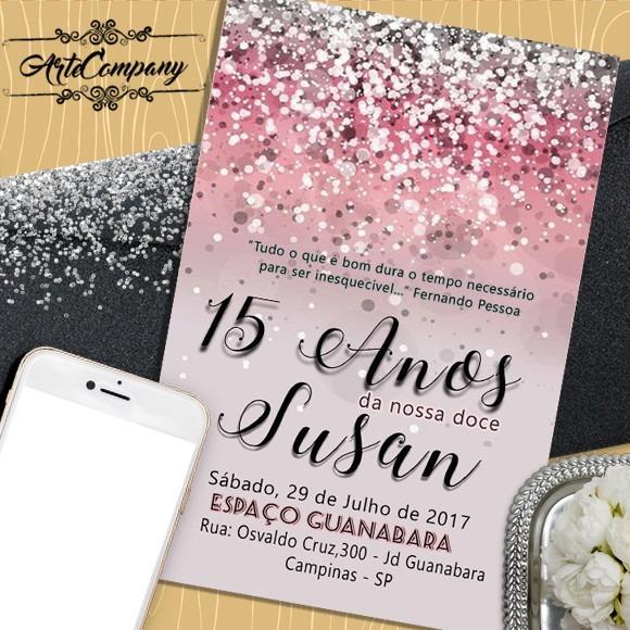 Convite Aniversário 15 Anos Digital No Elo7