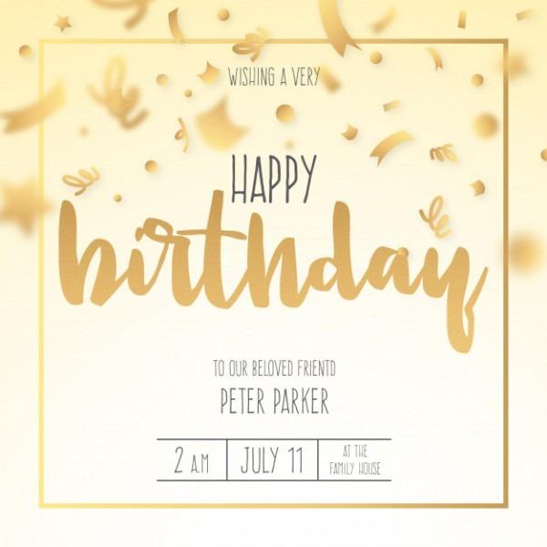 Convite De Aniversário Com Confete Dourado