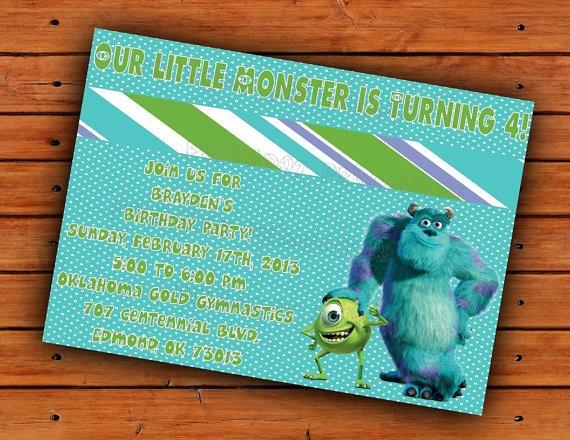 Convite De Aniversário Festa Infantil Monstros Sa