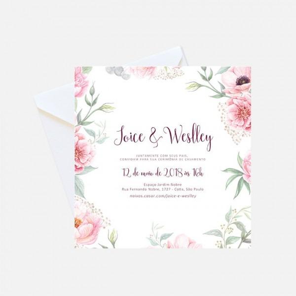 Convite Digital De Casamento Floral Rosa No Elo7
