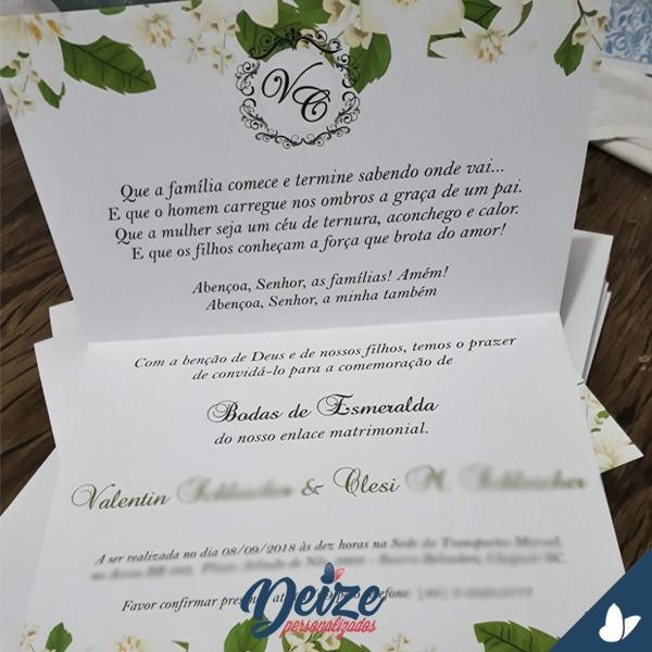 Convite De Casamento Floral Verde E Branco