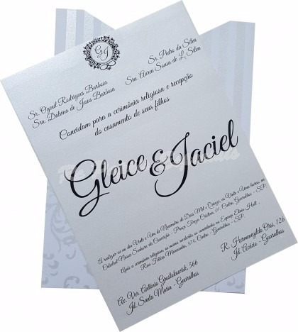 Convite De Casamento Md Floral E Listra 15 X 21 Cm