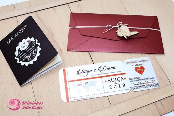 Convite Para Casamento Bilhete De Avião