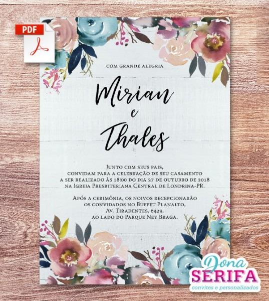 Convite De Casamento   Pdf   Arte Digital No Elo7