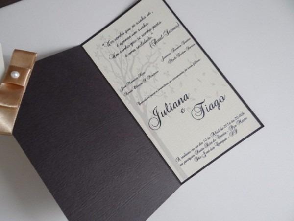 Convite De Casamento Vertical Pacote 10 Unidades