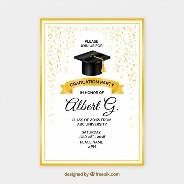 Convite De Festa De Formatura Dourado Criativo