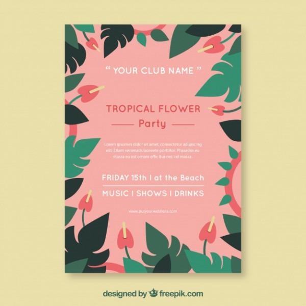 Convite De Festa Muito Tropical Com Flores