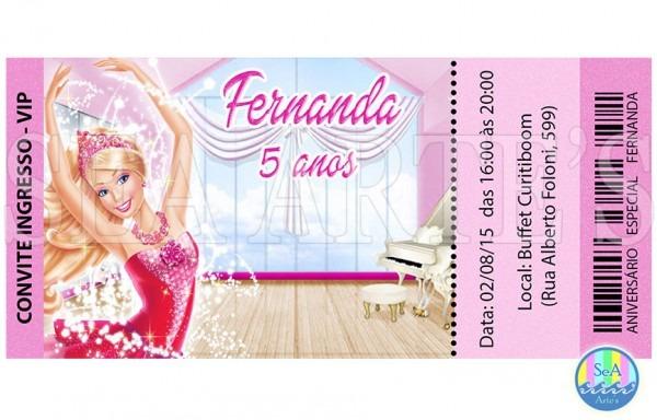 Convite Digital Barbie Sapatilha Mágica No Elo7