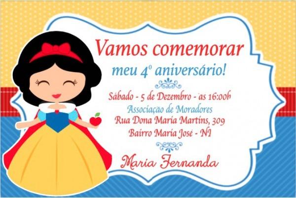 Convite Digital Branca De Neve Cute No Elo7