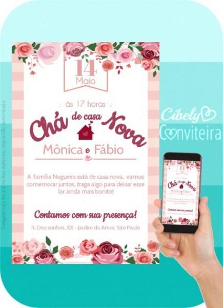 Convite Digital Chá De Casa Nova Com Flores