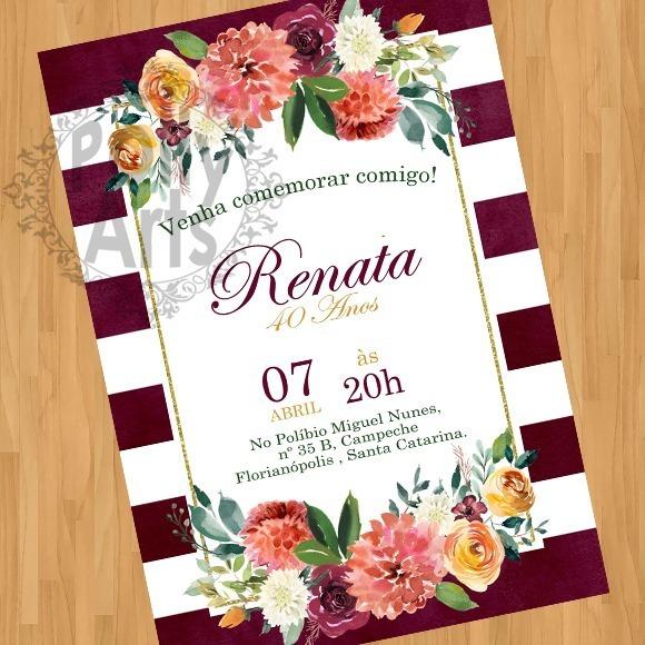 Convite Digital Floral 30 50 60 Anos Casamento Noivado 02