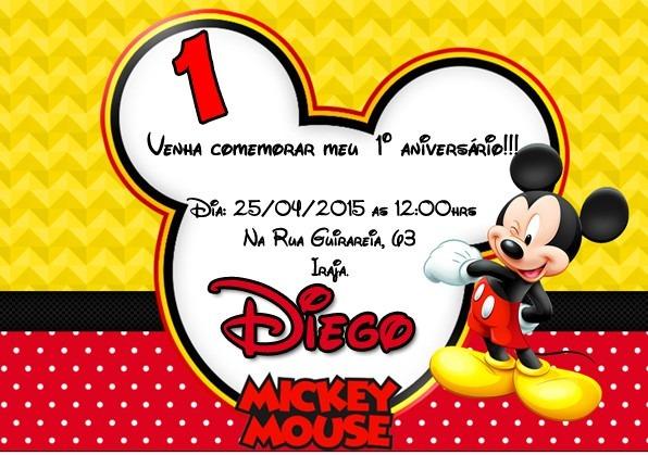 Convite Digital Mickey No Elo7