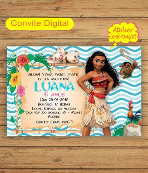 Convite Digital Moana No Elo7