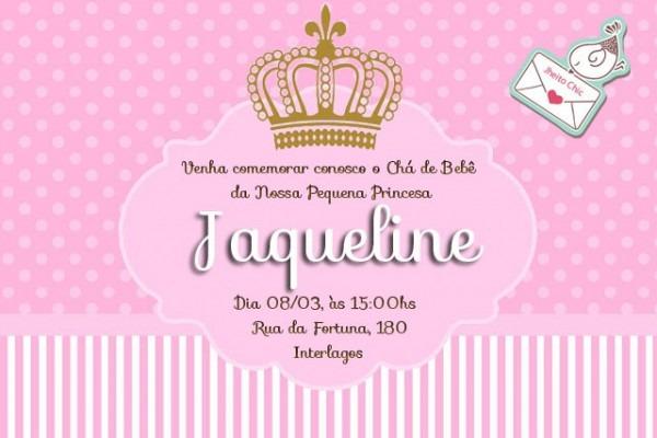 Convite Digital Princesa Coroa Dourada No Elo7