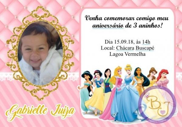 Convite Digital Princesas Disney