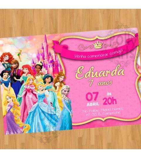 Convite Digital Virtual Princesas Disney