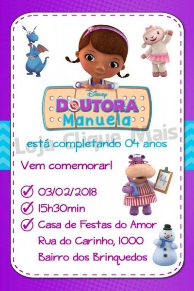 Convite Digital Festa Aniversário Infantil Dra Brinquedos