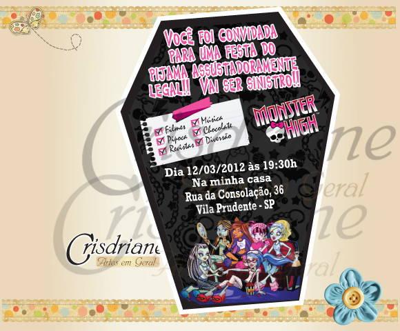 Convite Festa Do Pijama Monster High No Elo7