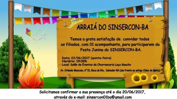 Convite – Festa Junina Do Sinsercon