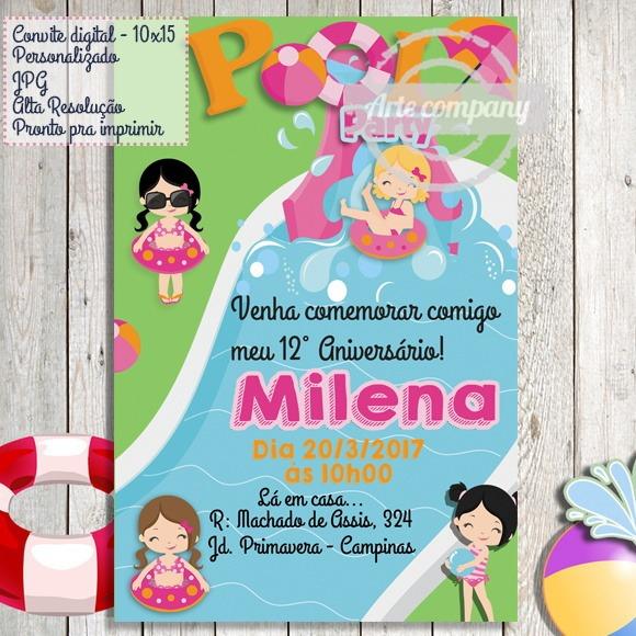 Convite Festa Aniversário Festa Na Piscina Pool Party No Elo7