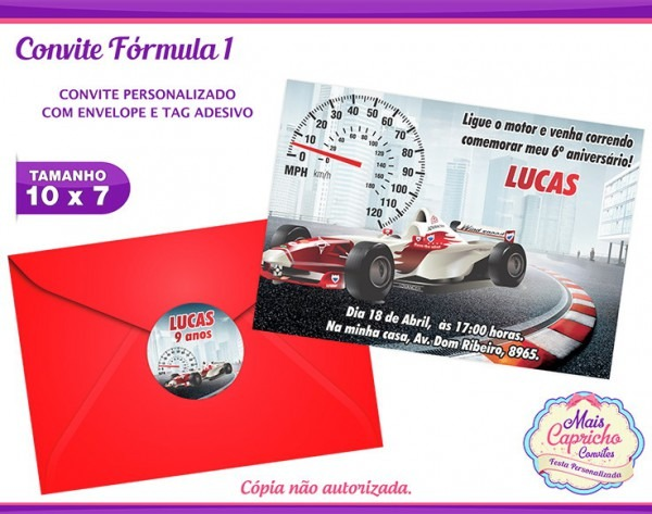 Convite Fórmula 1 No Elo7
