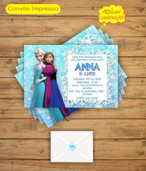 Convite Frozen 7x10 Mod1 No Elo7