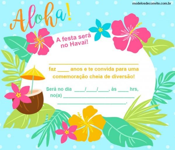 Convite Havaiano  23 Modelos Incríveis Para Sua Festa No Havaí