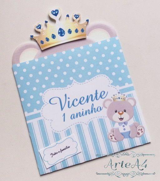 Convite Infantil Ursinho Príncipe