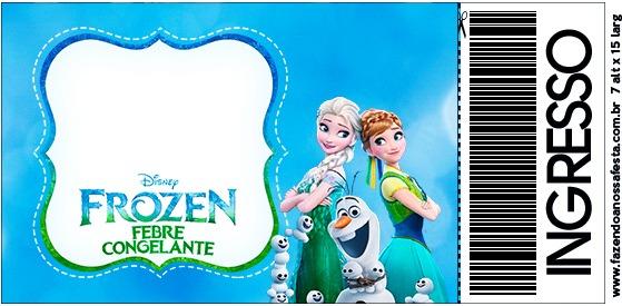 Convite Ingresso Frozen Febre Congelante