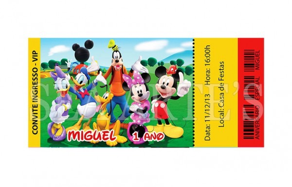 Convite Ingresso Turma Do Mickey Mouse No Elo7