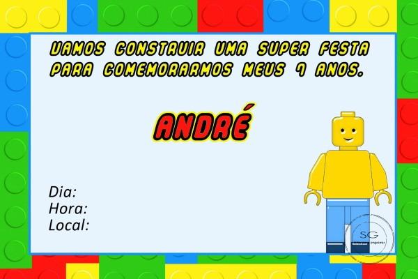 Convite Lego 1 No Elo7