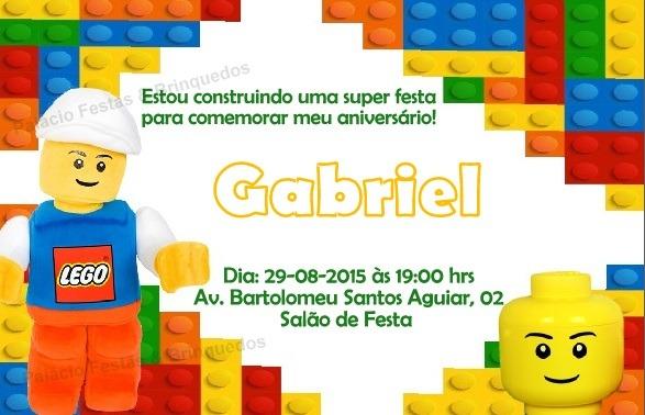 Convite Lego No Elo7