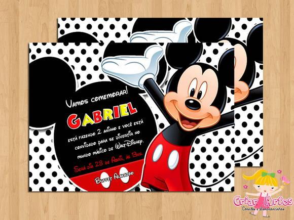 Convite Mickey Mouse Mod 1 No Elo7