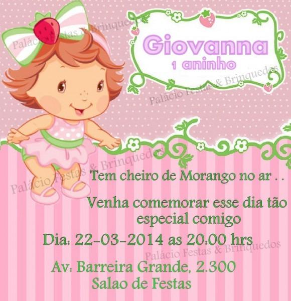 Convite Moranguinho Baby No Elo7