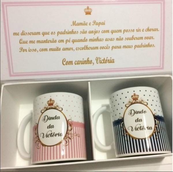 Convite Padrinhos Batizado Cartonagem Inicial 2 Canecas