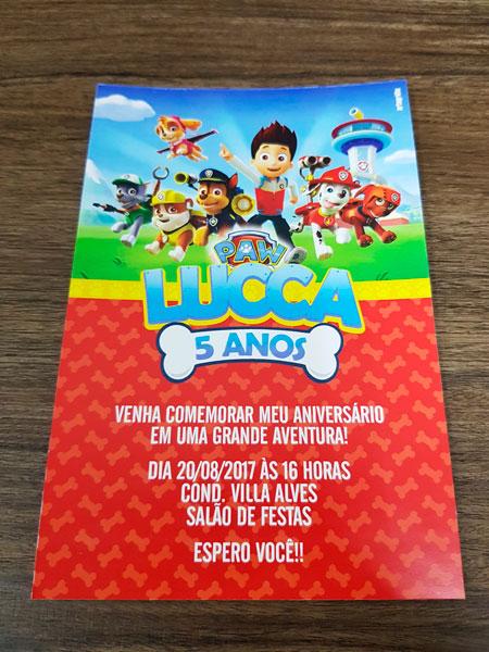 Convite Personalizado Patrulha Canina – Artegráfix – Ribeirão Preto