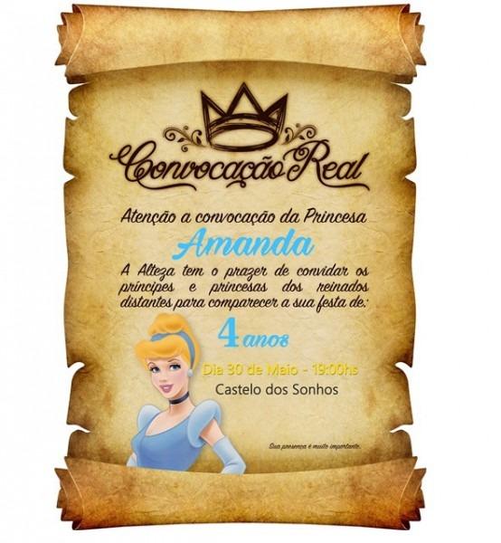 Convite De Aniversario Pergaminho Cinderela No Elo7