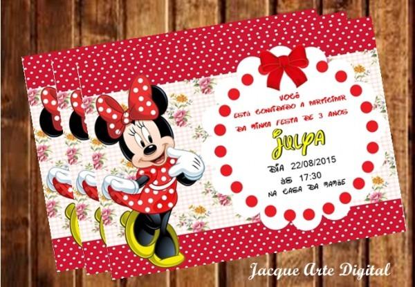 Convite Personalizado Minnie No Elo7