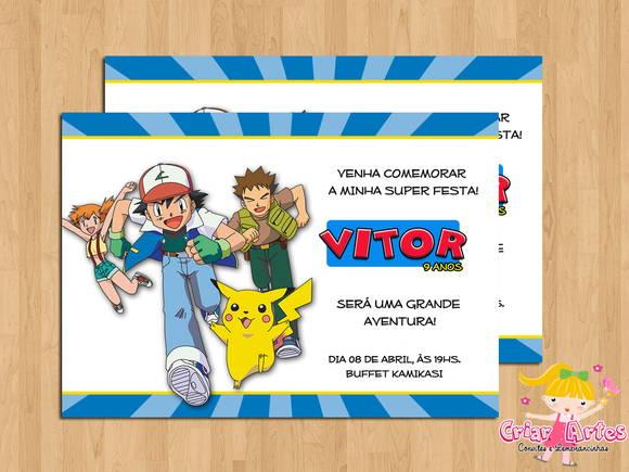 Convite Pokemon No Elo7