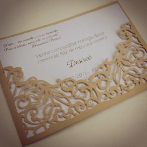Convite De Casamento Rendado 18cm X 13cm No Elo7