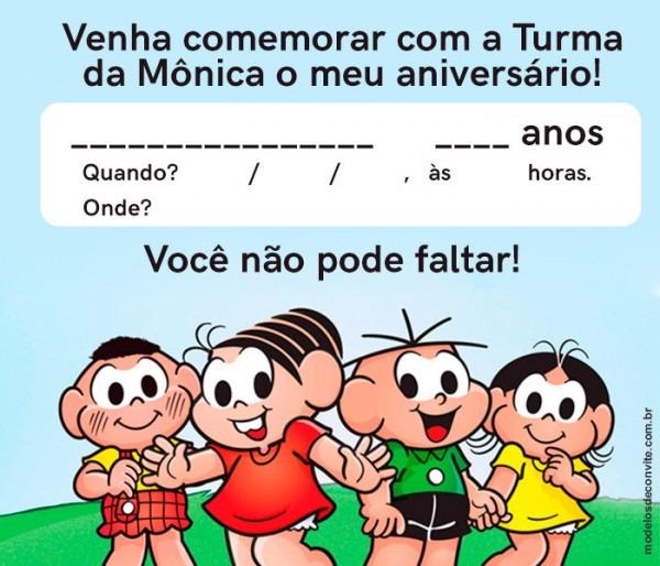 35 Convites Da Turma Da Mônica Super Animados! – Modelos De Convite