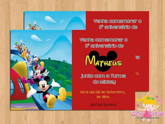 Convite Turma Do Mickey Mouse No Elo7